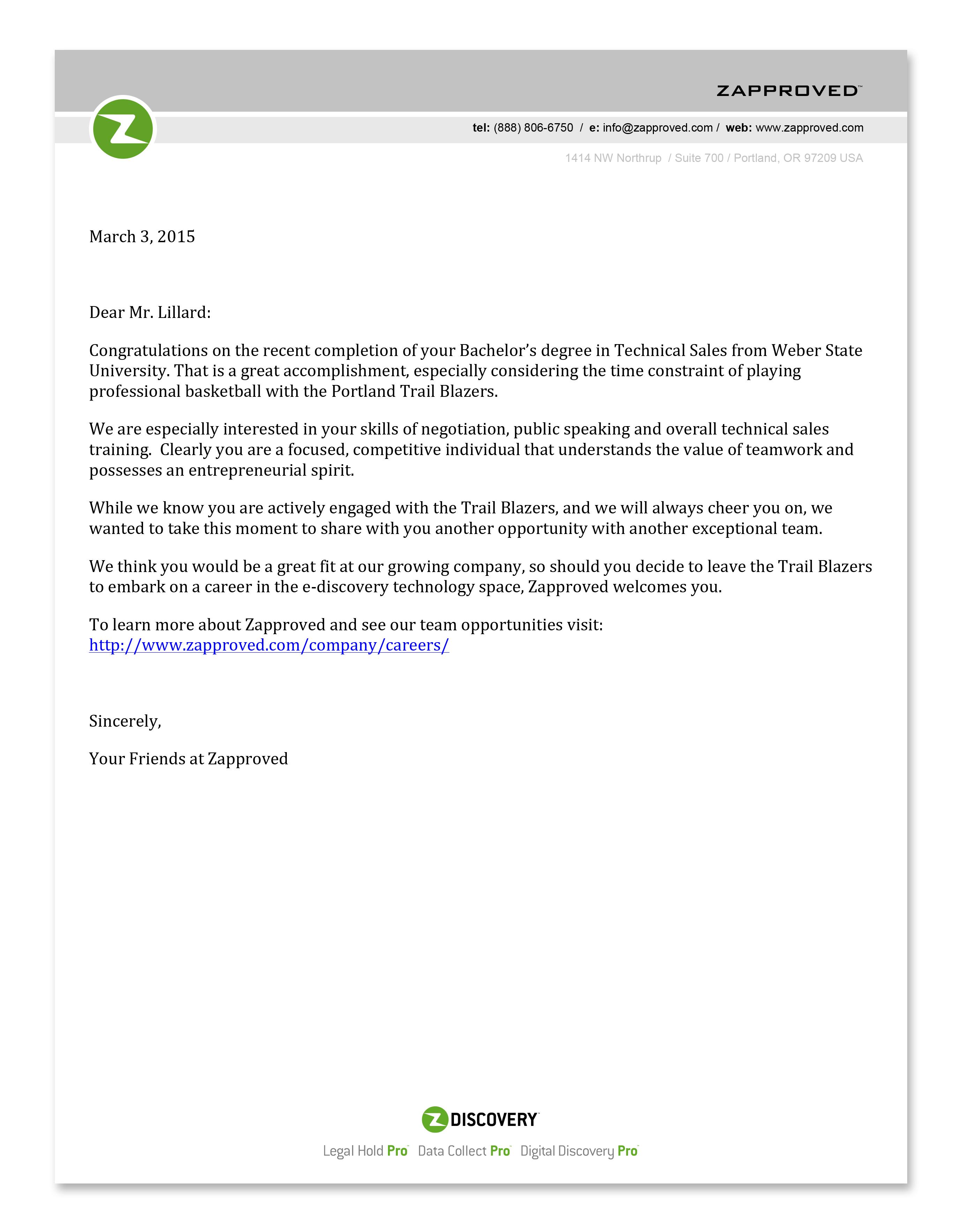 Zapproved Damian Lillard Job Letter